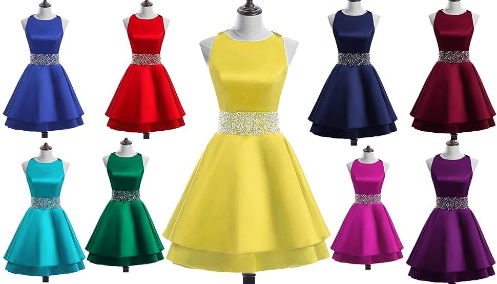 76b3b410781 Meilishuo Womens Crew Beading Prom Dresses Short Sequiuned Homecoming  Dresses for Teens Mini Cocktail Dresses