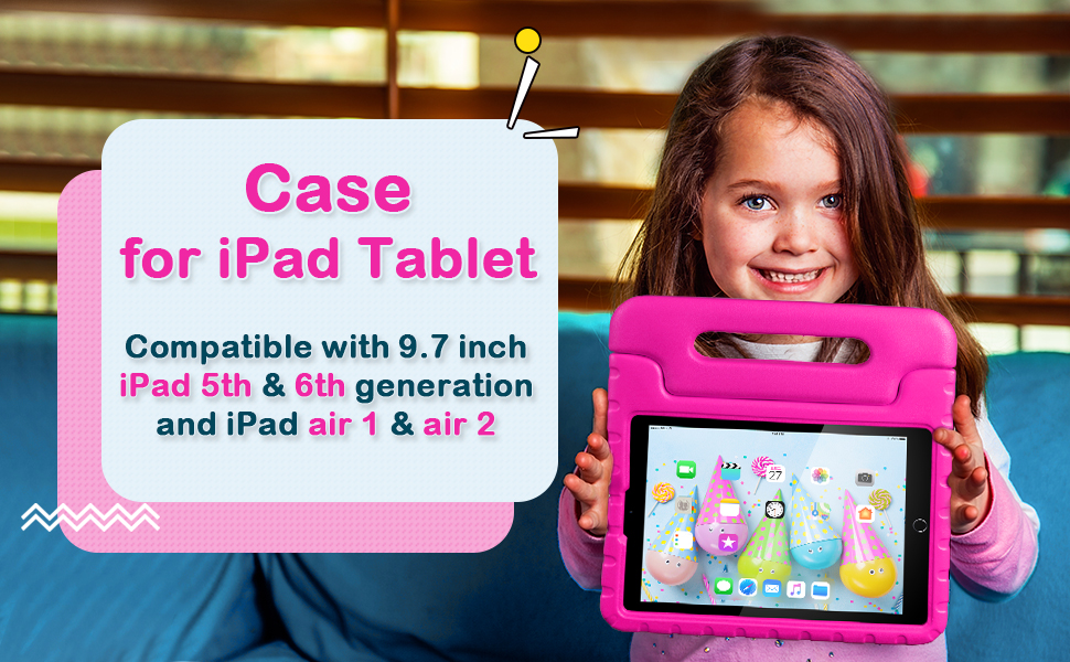 """iPad Kids Case 9.7in iPad Air 1 2 Case Tablet Case for 6th 5th Generation iPad 9.7"""" Air Case Blue"""