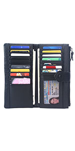 Amazon.com: Women RFID Blocking Wallet Leather Zip Around ...