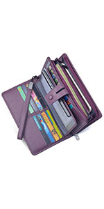 Amazon.com: Women RFID Blocking Wallet Leather Zip Around ...