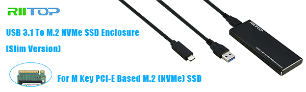 2Cable RIITOP NVME to USB C Adapter Enclosure M.2 PCIe NVMe SSD to USB 3.1 Case