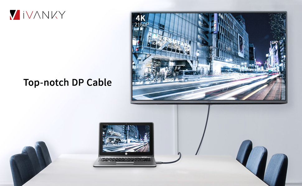 ivanky DisplayPort Cable 6 6ft DP Cable Nylon Braided [2K@165Hz, 2K@144Hz,  4K@60Hz] Display Port Cable High Speed DisplayPort to DisplayPort Cable