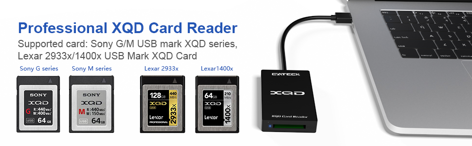 【Upgraded Version】Cateck XQD Card Reader, 5Gpbs Super Speed USB 3.0 xqd memory card reader, Compatible with Sony G/M Series USB Mark XQD Card, Lexar ...