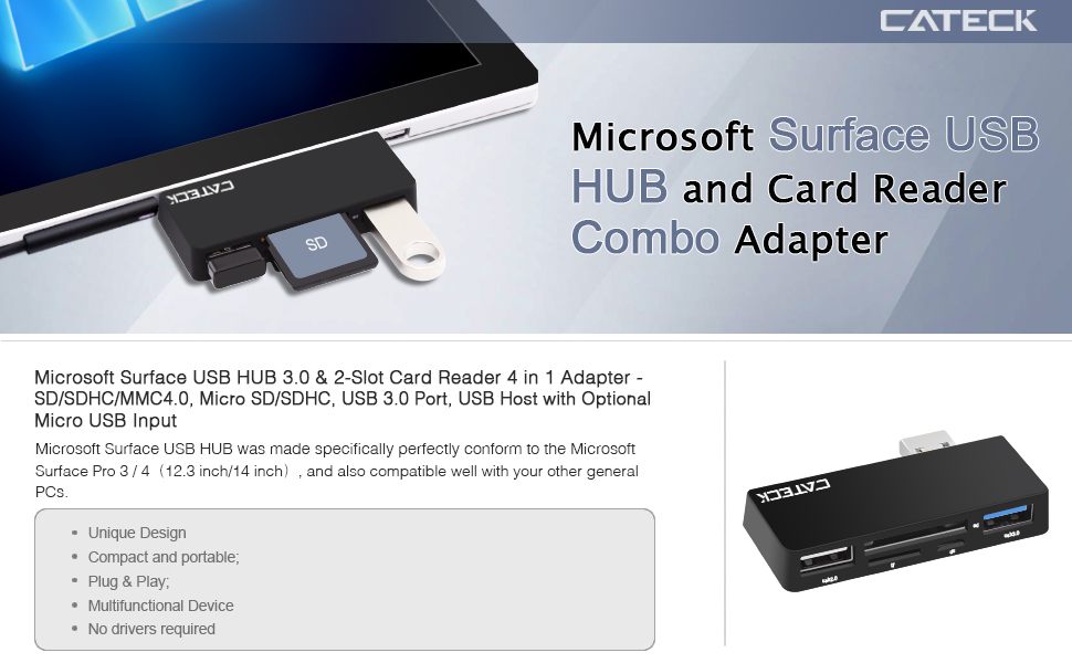 microsoft surface usb hub cateck high speed usb 3 0 with 2 slot card reader 4 in 1 adapter sd. Black Bedroom Furniture Sets. Home Design Ideas