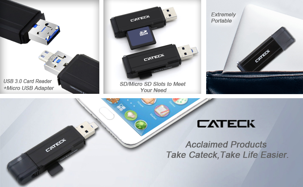 Linux and Certain Android Systems Cateck Micro USB OTG and SuperSpeed 2-Slot USB 3.0 Flash Memory Card Reader to Support SD//Micro SD Adapter for Windows Mac