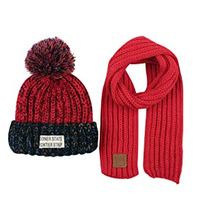 Scarf for Kids Boys Girls Winter Hat with Cute Pompom 2-5Y Christmas Kids Hat Scarf Set Knitted Warm Baby Beanie