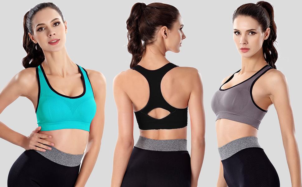 cf603553c3 Women Racerback Sports Bras High Impact Workout Yoga Gym Activewear ...
