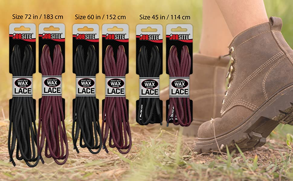 b68bb3f9b7c83 Amazon.com: JobSite Waxed Boot & Shoe Laces - 60 Inch - Brown: Home ...