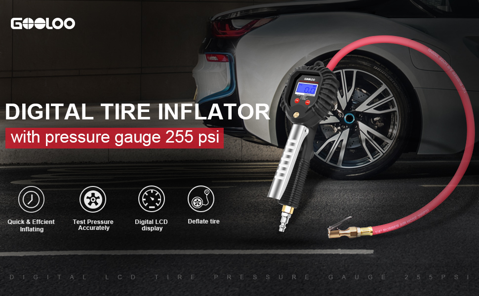 Psi Tire Pressure >> Gooloo Upgraded Digital Tire Pressure Gauge Heavy Duty 255 Psi Tire Inflator And Compressor Accessories With Leakproof Air Chuck Quick Connect Plug