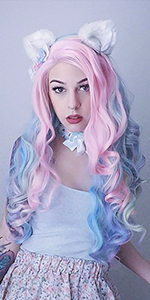 Heahair,Rainbow Synthetic Lace Front Wig, Long Wavy Lace Front Wig,Halloween Lace Front Wig