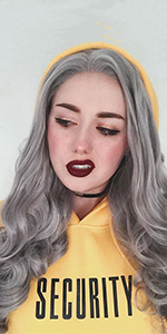 Heahair,Grey Synthetic Lace Front Wig,Gray Wavy Wig,Long Wavy Lace Front Wig