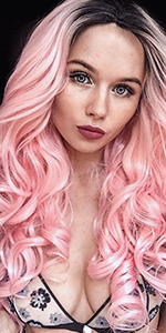 Heahair,Ombre Pink Synthetic Lace Front Wig,Pink Long Wavy Wig,Wavy Pink Lace Front Wig