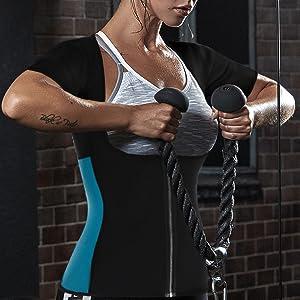 d09e4c8ad3b Amazon.com  NonEcho Women Sauna Body Shaper Sweat Suit Sleeve Spa ...