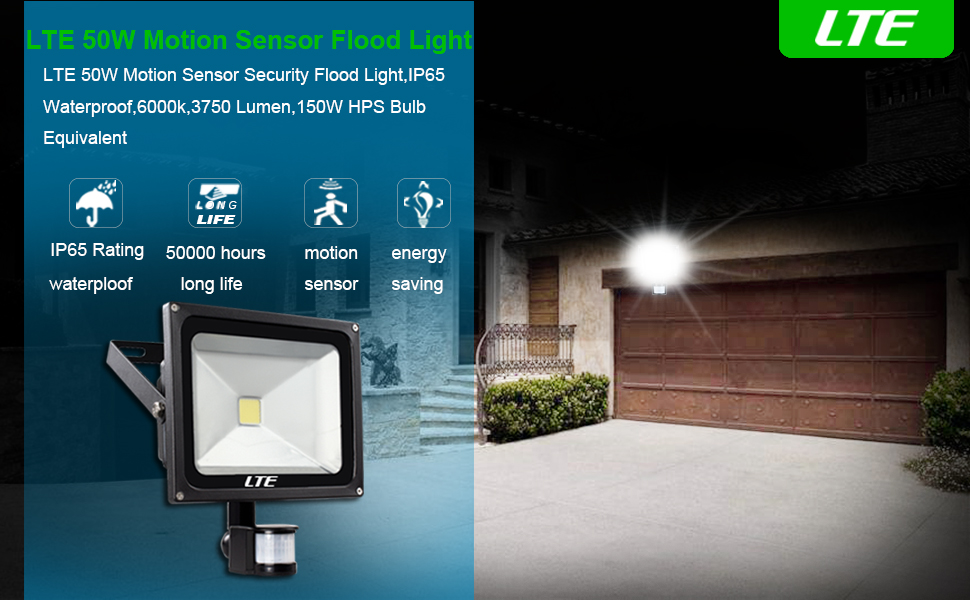 Lte 50w motion sensor flood lights outdoor security floodlight motion detector lighting will keep you security when it automatically lights up a dark garage a dark sidewalk or even a dark area of your yard aloadofball Images