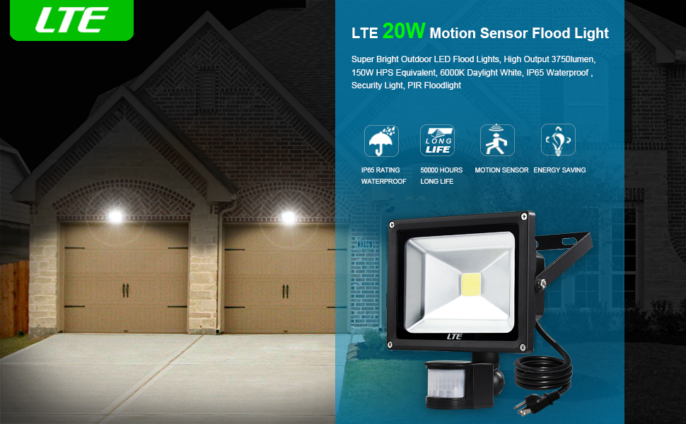 Lte 20w motion sensor flood lights outdoor security floodlight motion detector lighting will keep you security when it automatically lights up a dark garage a dark sidewalk or even a dark area of your yard aloadofball