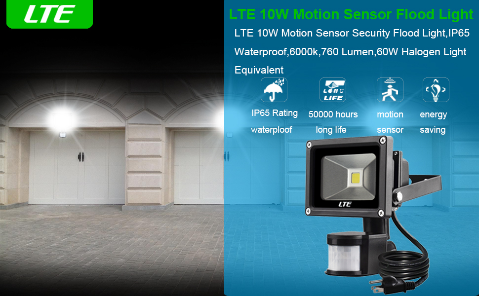 Motion Sensor LED Flood Light, 760 Lumens Daylight White, LTE 10W ...