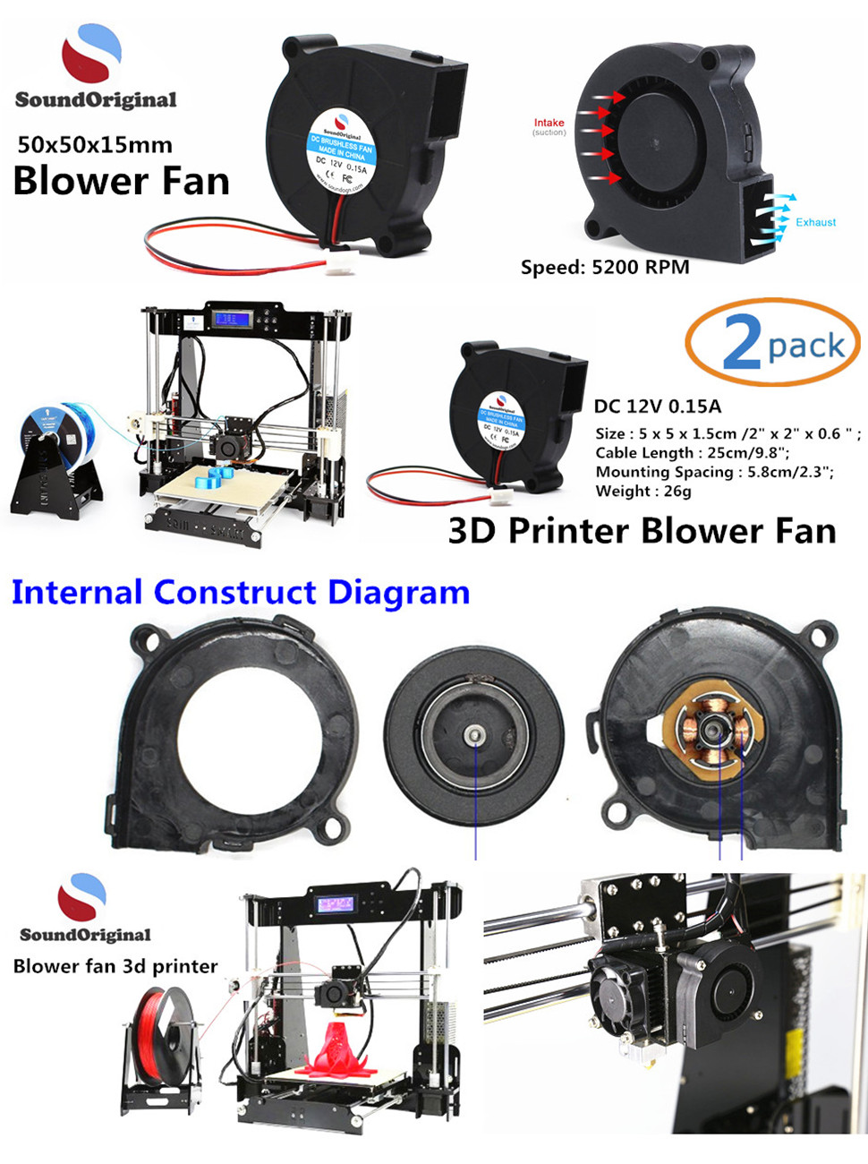 Soundoriginal 24v Dc Brushless Blower Cooling Fan Laptop 3 Wire Wiring Diagram 3d Printer