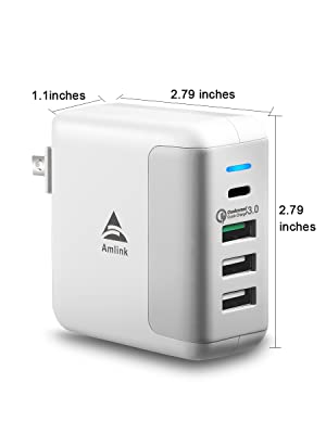 AMLINK Quick Charge 3.0 USB Wall Charger, 40W 4-Port USB Type-C Adapter PowerPort Speed 4 Charging Station for Home and Travel (White)