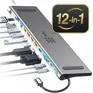 Ultra Versatile 12-in-1 Professional USB C Hub by TBI Pro