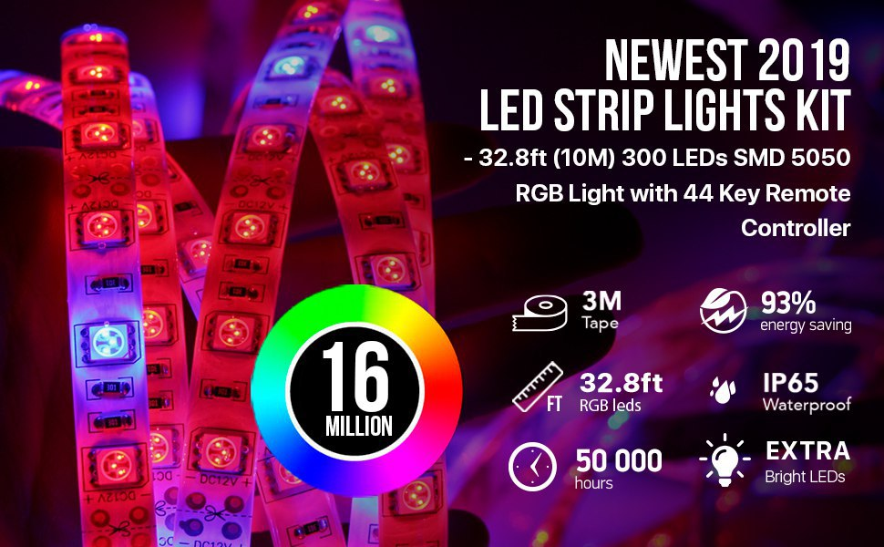 LED Strip Lights Kit 2-Pack x 5M w/Extra Adhesive 3M Tape - 32.8ft 300 LEDs SMD 5050 RGB Light