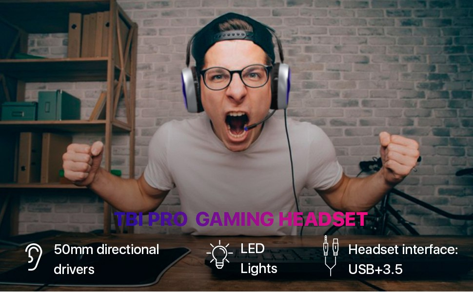 Gaming Headset with Microphone for Xbox One (Adapter needed), PS4, Nintendo, PC by TBI Pro