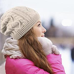 ca8e6aa16 ISEYMI Chunky Cable Knit Beanie Hat Double Layers Winter Warm Skully Cap  Soft Stretch