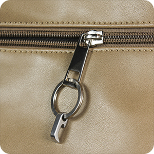 On the zipper of a bag