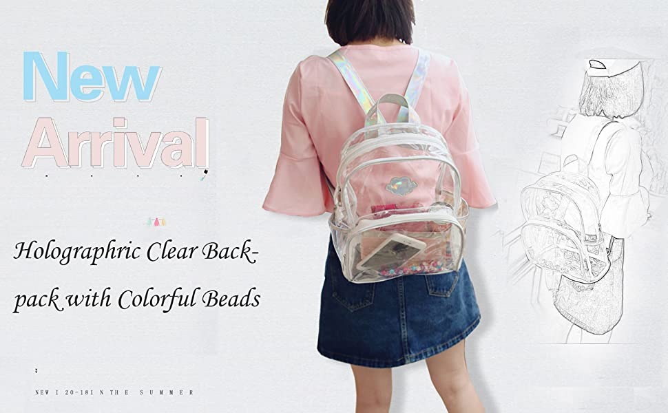 Security Stadiums Jesdo Holographic Clear Backpack for School