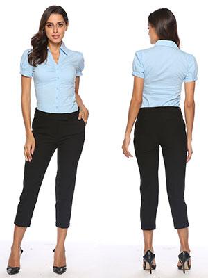 b23ea86b Amazon.com: Soojun Women Short Sleeve Button Down Career Shirt ...