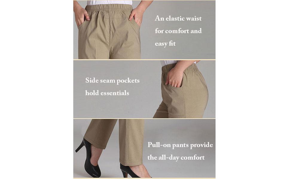Soojun Womens Summer Elastic Waist Comfy Stretch Pull On Pants