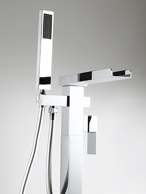 Modern Waterfall Freestanding Tub Faucet with Handshower