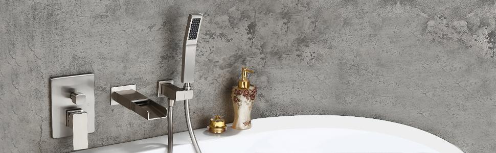 Wall-Mount Waterfall Bathtub Faucet