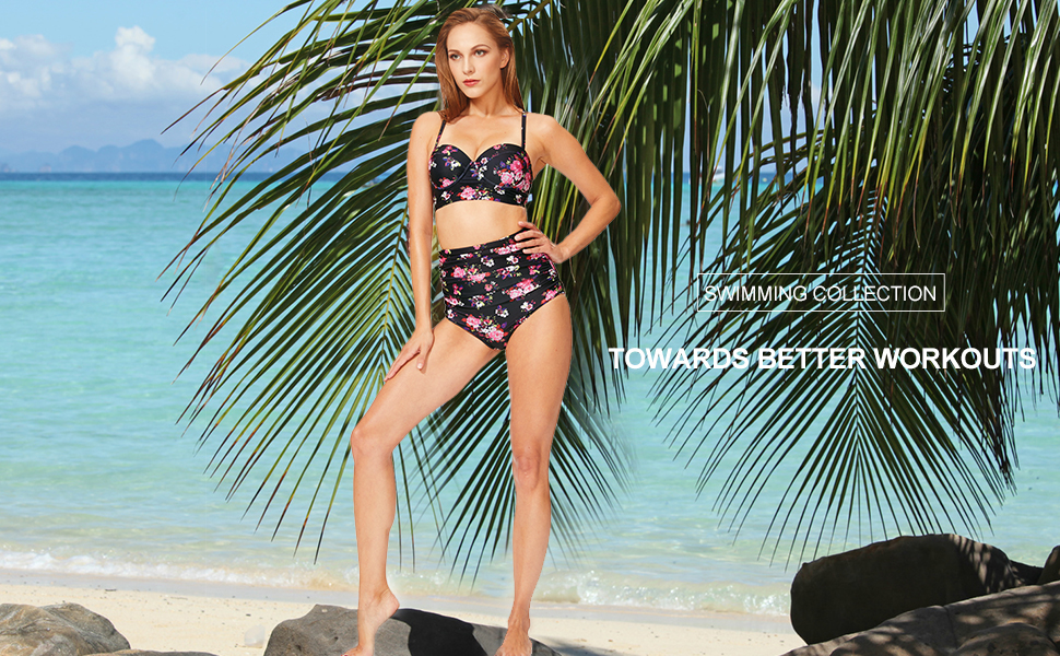 5871d2a59d3d6 Baleaf Women's High Waist Retro Floral Two Piece Bathing Suit Swimsuit  Bikini Sets