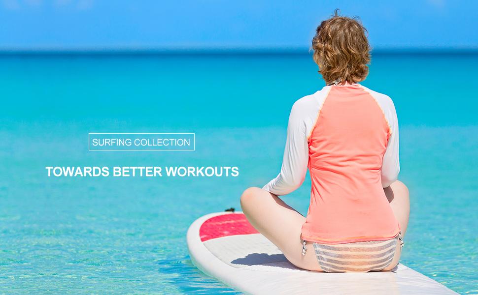 Baleaf Womens Long Sleeve Sun Protection Splice Rashguard Swim Shirt Back Pocket