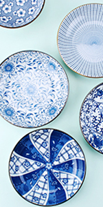7 Inch Assorted Floral Plates Set of 4