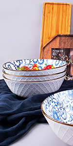 8 Inch Assorted Floral Bowls Set of 4