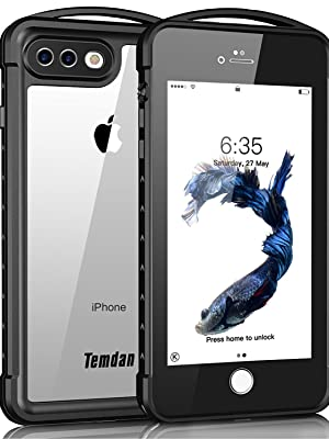 quality design 07d06 62ee5 iPhone 7 Plus / 8 Plus Waterproof Case, Temdan Supreme Series Waterproof  Case with Carabiner Built in Screen Protector Outdoor Rugged Shockproof  Case ...