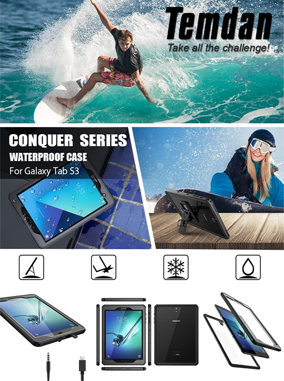 new concept 23c61 af059 Samsung Galaxy Tab S3 Waterproof Case, Temdan IPX8 Waterproof case with  Built-in Screen Full-Body Kickstand Rugged Protective Case for Galaxy Tab  S3 ...
