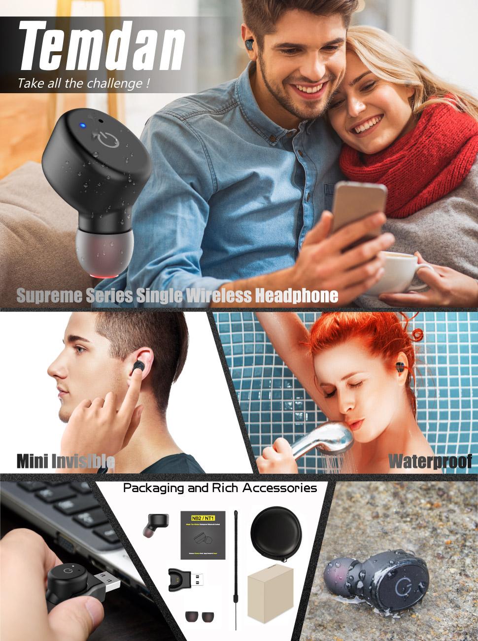 Mini Wireless Bluetooth Earbud Temdan Bt42 Headset 41 Handsfree Headphones L1 Sj0048