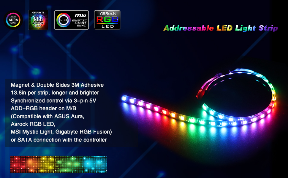 LED RGB PC Light Strip - Speclux Computer Magnetic Addressable LED Strip  Kit, Motherboard with 5V 3pin RGB Header for Asus Aura, Asrock RGB Led,