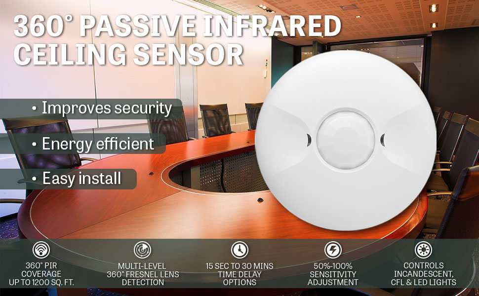 Enerlites MPC-50V ceiling sensor is ideal for use for the purpose of convenience, energy efficiency, security and surveillance.