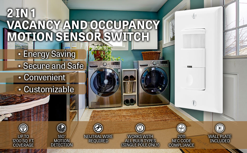 Motion detector light switch by topgreener in wall sensor switch 2 pack motion sensor switch by topgreener occupancy sensor switch pir motion sensor closet light garage light bathroom light neutral wire required aloadofball Choice Image
