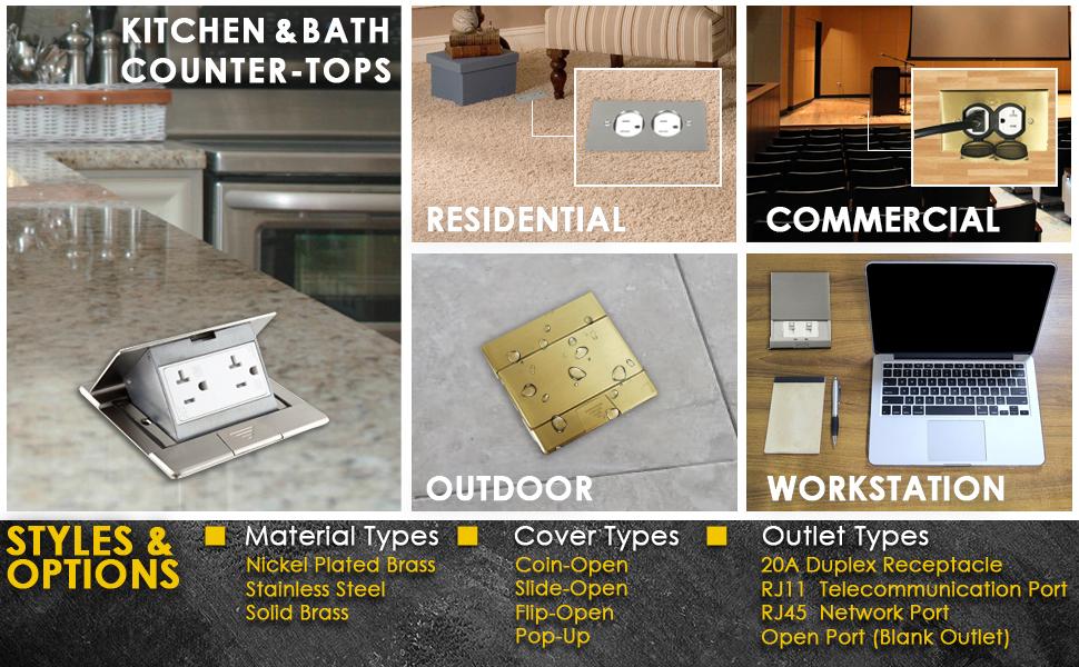 Enerlites 661241 C Stickered 661241 C Square Pop Up Floor Box With