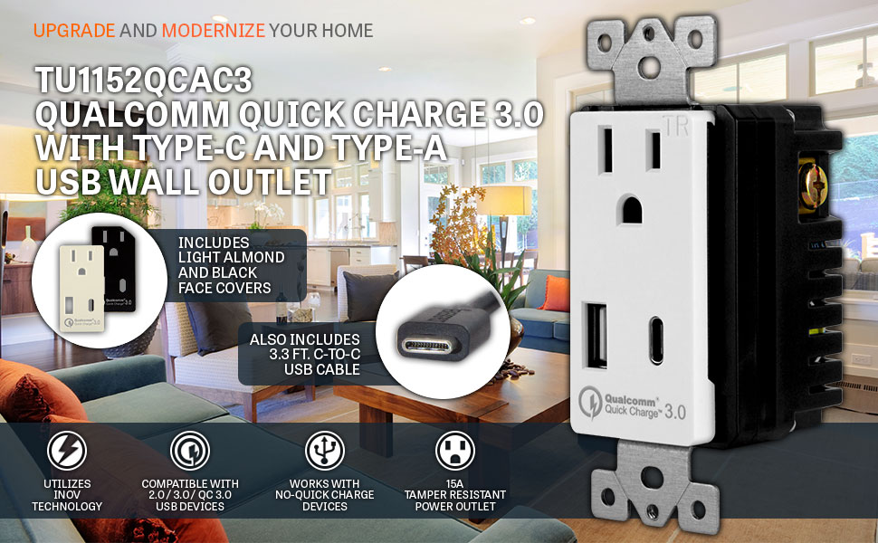 Quick Charge 3.0 with Type C USB Charger Outlet, TOPGREENER TU1152QCAC3