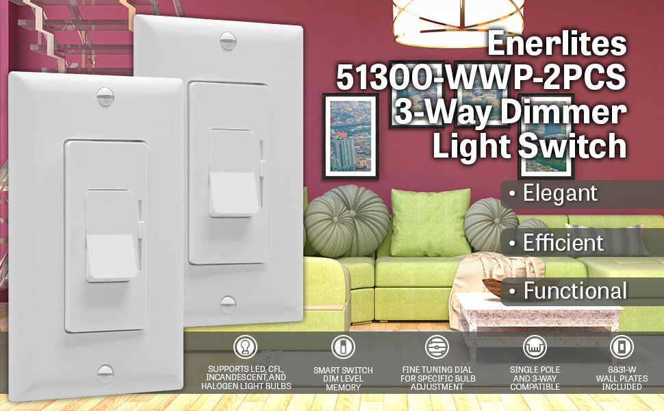 LED Dimmer Switch by Enerlites Rocker Light Switch, Single Pole/3 ...