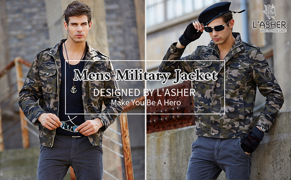 Men's Casual Military Zip Up Button Bomber Jacket Army Coat Cotton Jackets