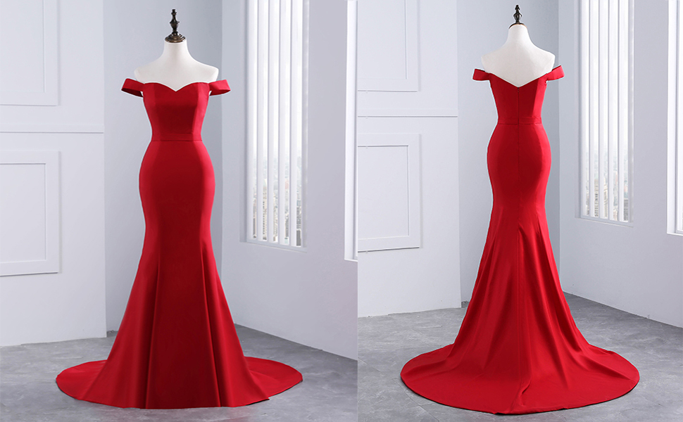 Yinyyinhs Evening Gowns Women's Off the Shoulder Mermaid Sweetheart Long Formal Dresses red