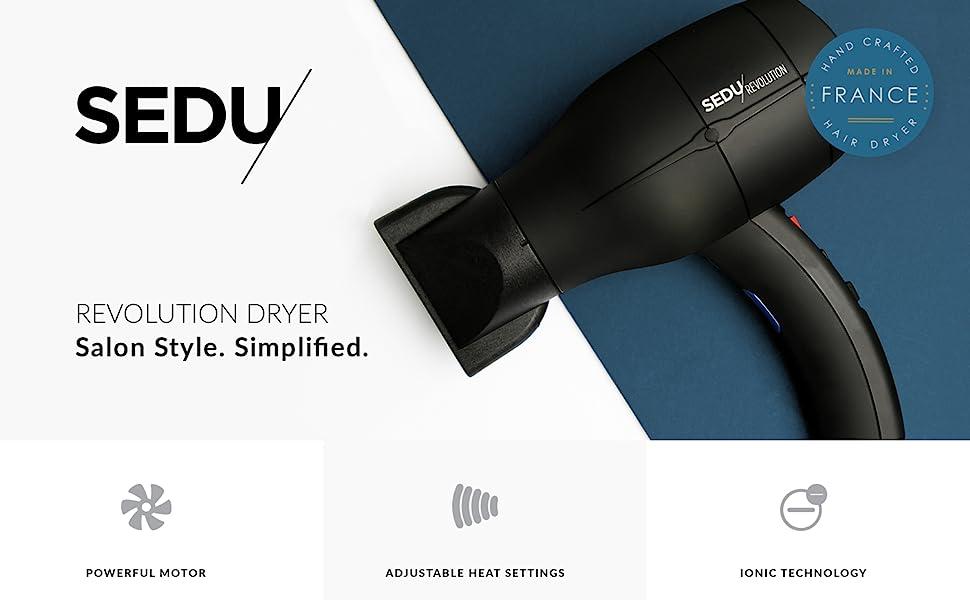 Sedu revolution dryer salon style simplified 4000i powerful motor adjustable heat settings ionic air