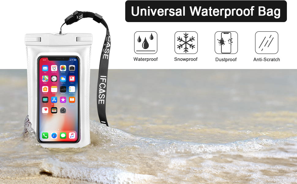 Universal Waterproof Case, IFCASE IPX8 Floating TPU Phone Dry Bag Pouch for  iPhone Xs Max/XS/XR/X, Samsung Galaxy S10/S9/S8/S7 Edge/J7/J3, Galaxy S10