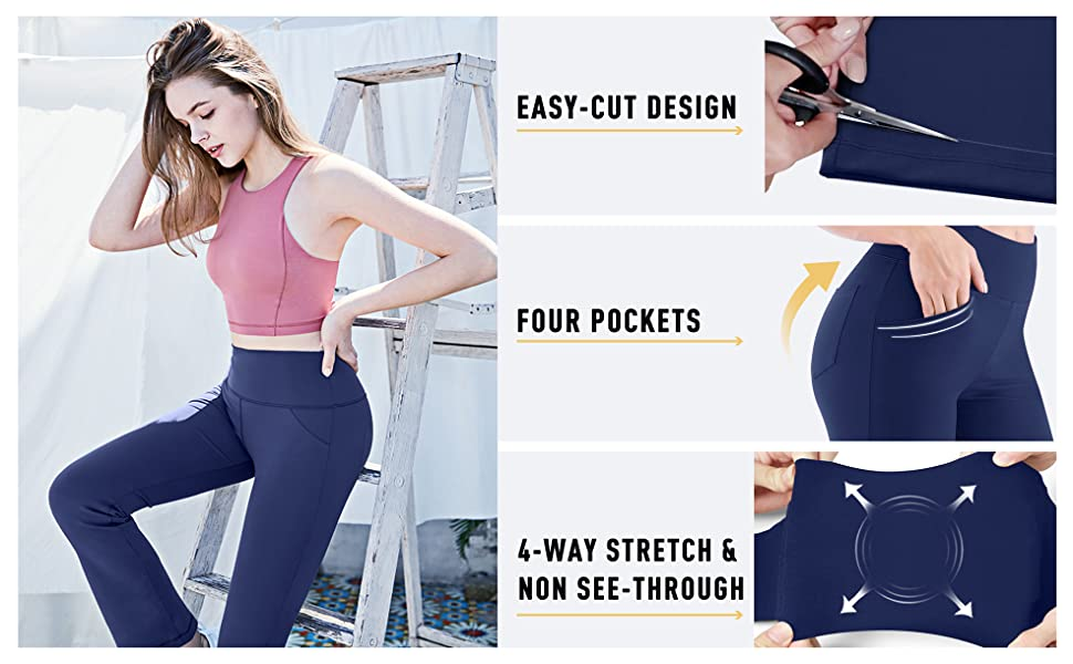 Bootcut Yoga Pants with Pockets for Women High Waist Workout Bootleg Pants  Tummy Control, 4 Pockets Work Pants for Women